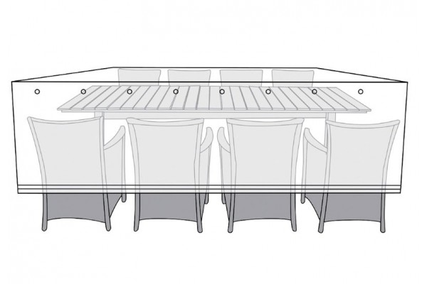 Overtræk (145x300) til bord med 8 stole